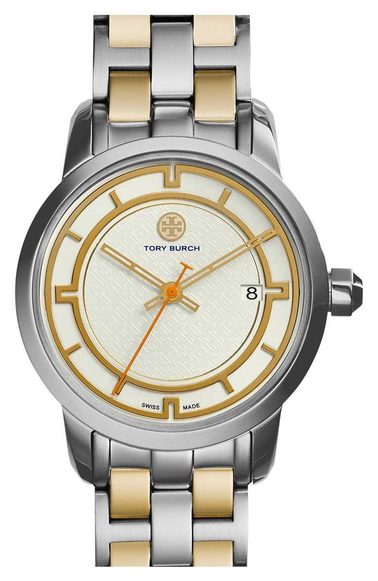 TORY BURCH 'Tory' Small Round Bracelet Watch, 28mm, Main, color, 712