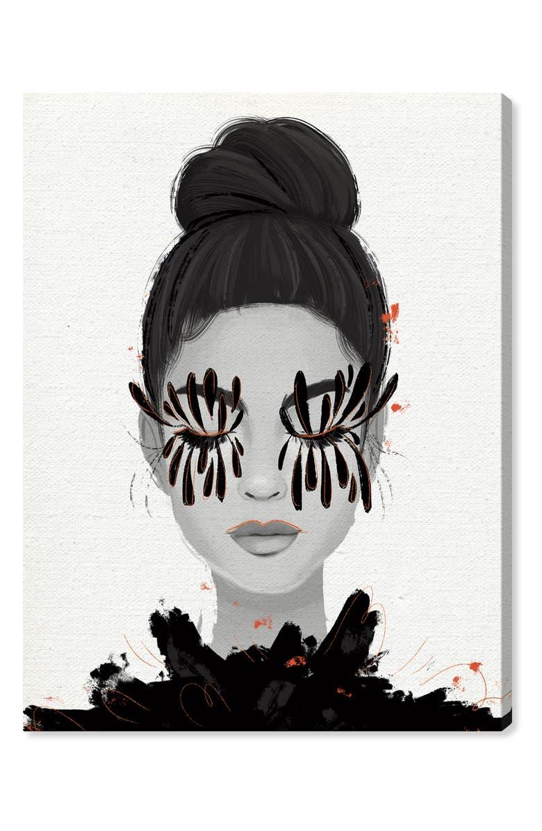 OLIVER GAL Eyelash Petals Girl II Canvas Wall Art, Main, color, BLACK
