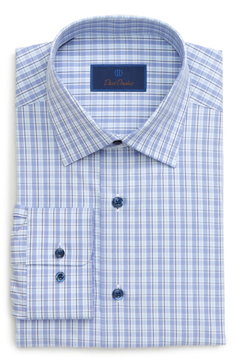 DAVID DONAHUE Regular Fit Plaid Dress Shirt, Main, color, BLUE