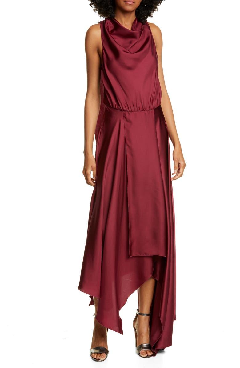 AMUR Nikita Asymmetrical Silk Satin Dress, Main, color, BURGUNDY