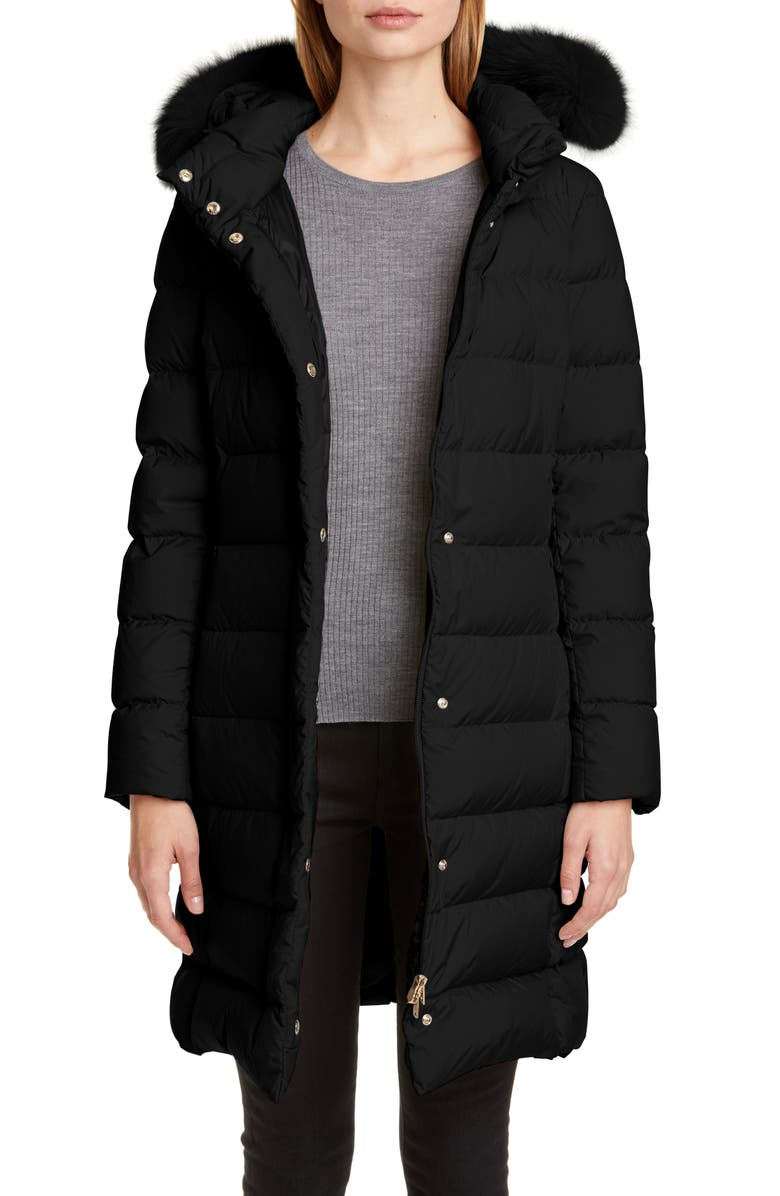 HERNO Long Hooded Down Puffer Coat with Genuine Fox Fur Trim, Main, color, BLACK