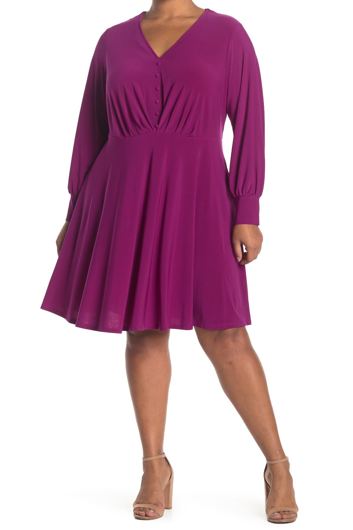 TASH + SOPHIE Button Front Fit & Flare Dress at Nordstrom Rack