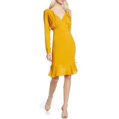 Finders Keepers Bloom Long Sleeve Cinch Dress, Yellow