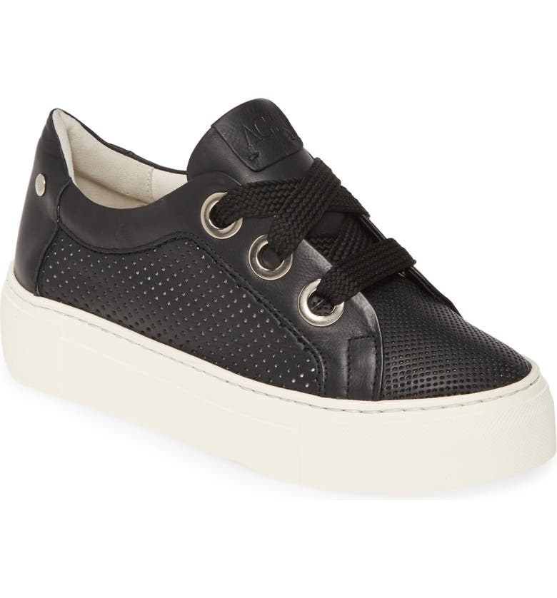 AGL Perforated Platform Sneaker, Main, color, BLACK LEATHER