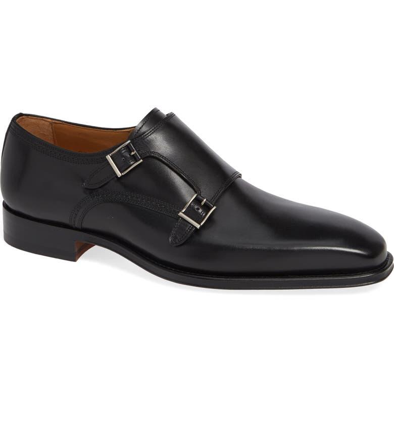 MAGNANNI London Double Strap Monk Shoe, Main, color, 001