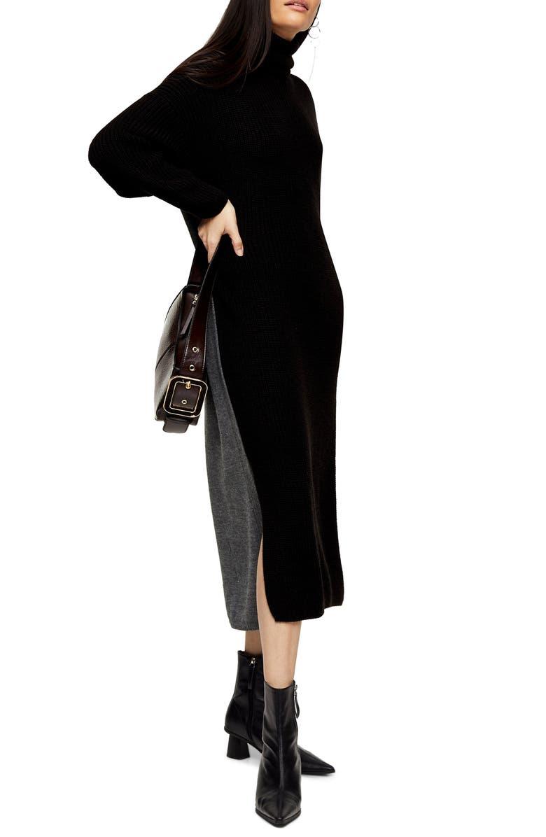 TOPSHOP Colorblock Turtleneck Long Sleeve Sweater Dress, Main, color, CHARCOAL