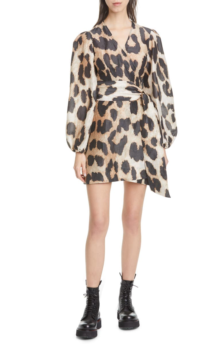 GANNI Leopard Print Long Sleeve Linen & Silk Wrap Dress, Main, color, 200