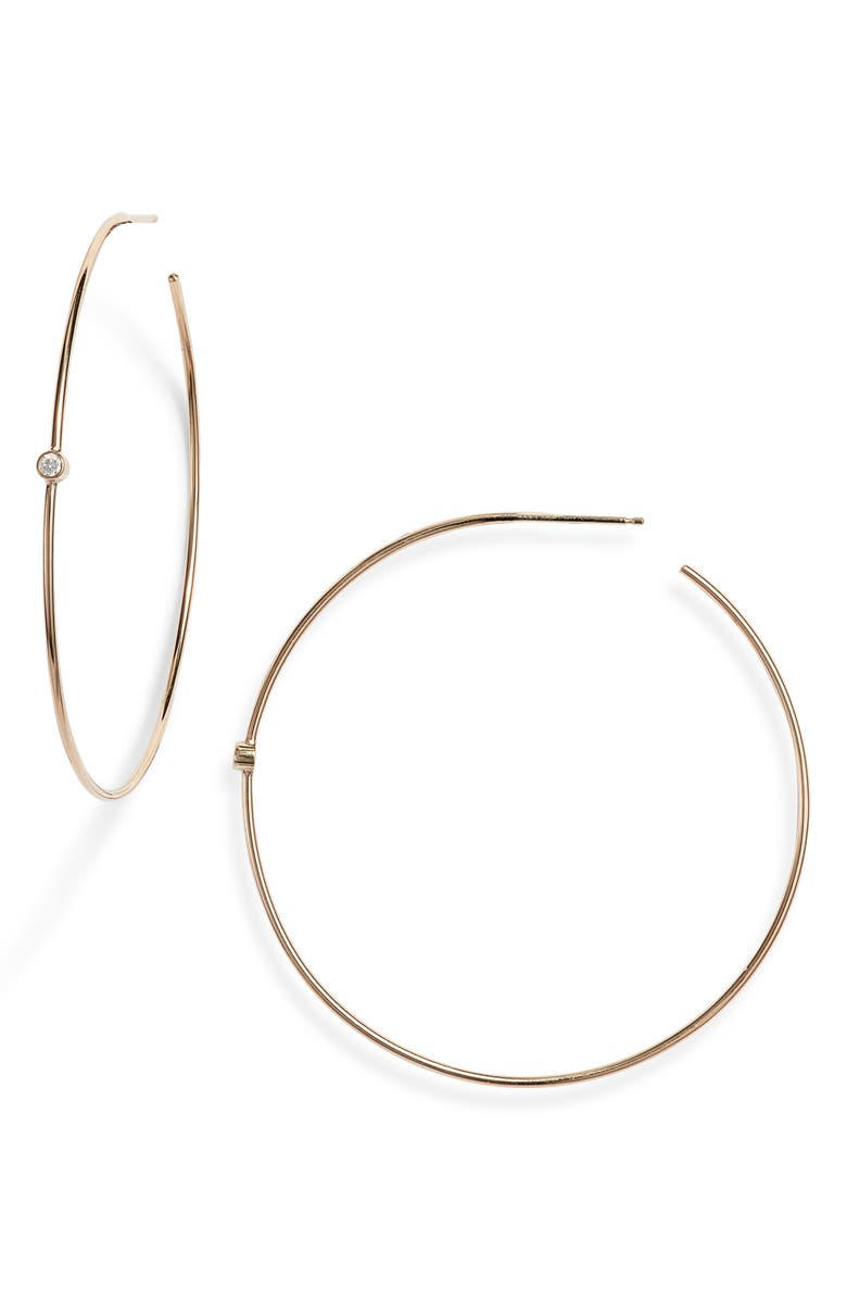 ZOË CHICCO Diamond Hoop Earrings, Main, color, GOLD/ DIAMOND