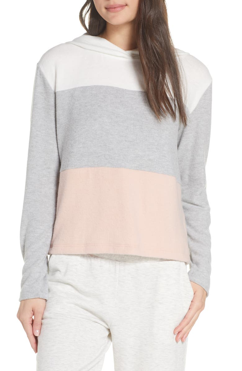 SOCIALITE Colorblock Hoodie, Main, color, IVO/ GRY/ BLSH