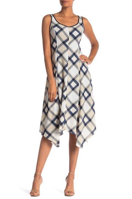 Image of Jones New York Sleeveless Plaid Handkerchief Dress