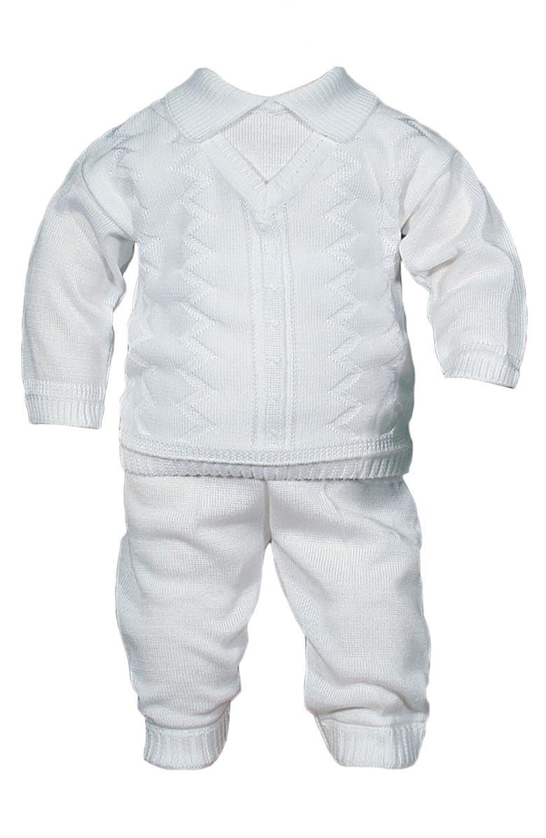 LITTLE THINGS MEAN A LOT Knit Shirt & Pants Set, Main, color, WHITE