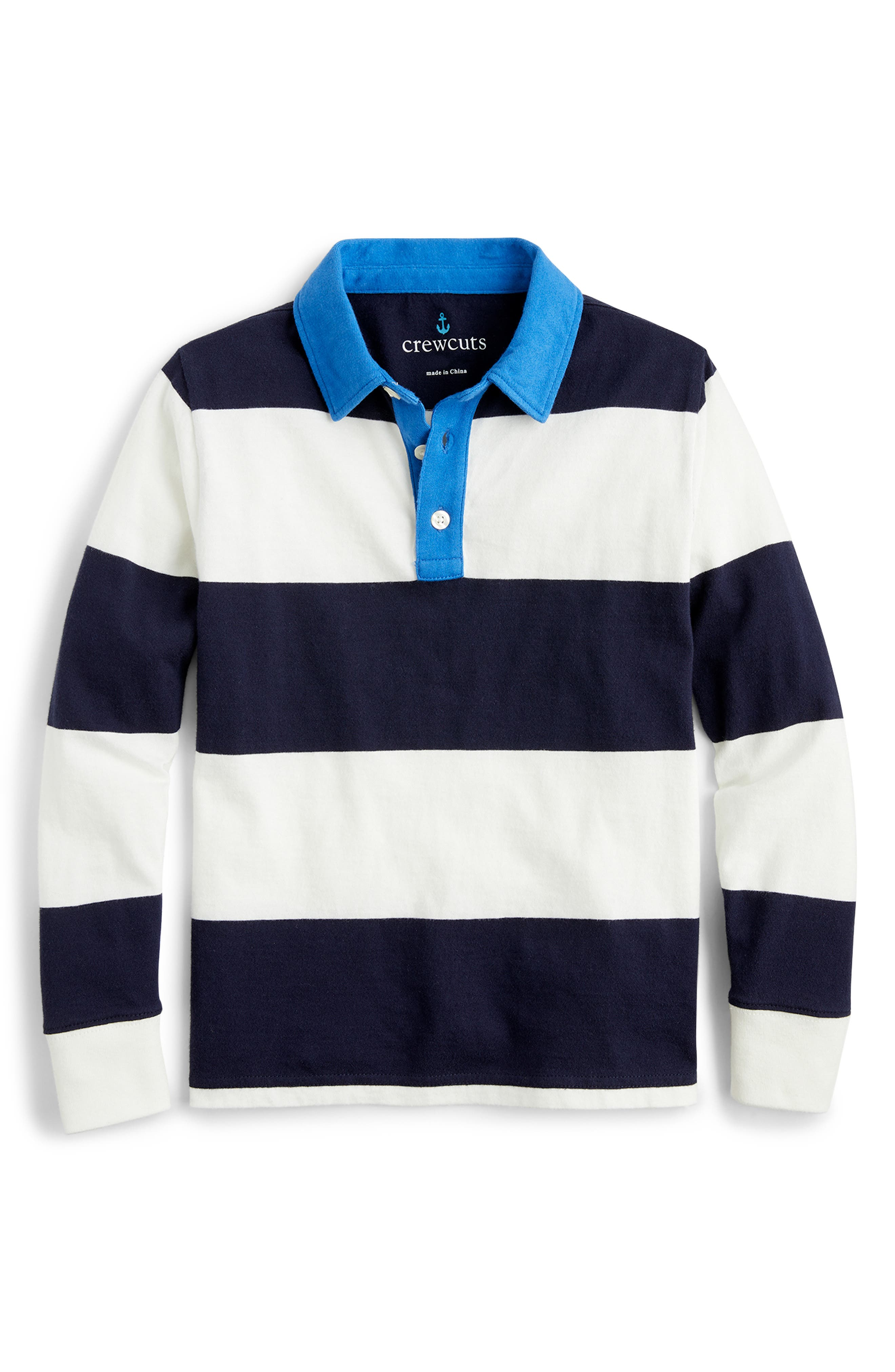 J Crew CREWCUTS Boys White Long Sleeve Polo Shirt With Pocket Size 3T