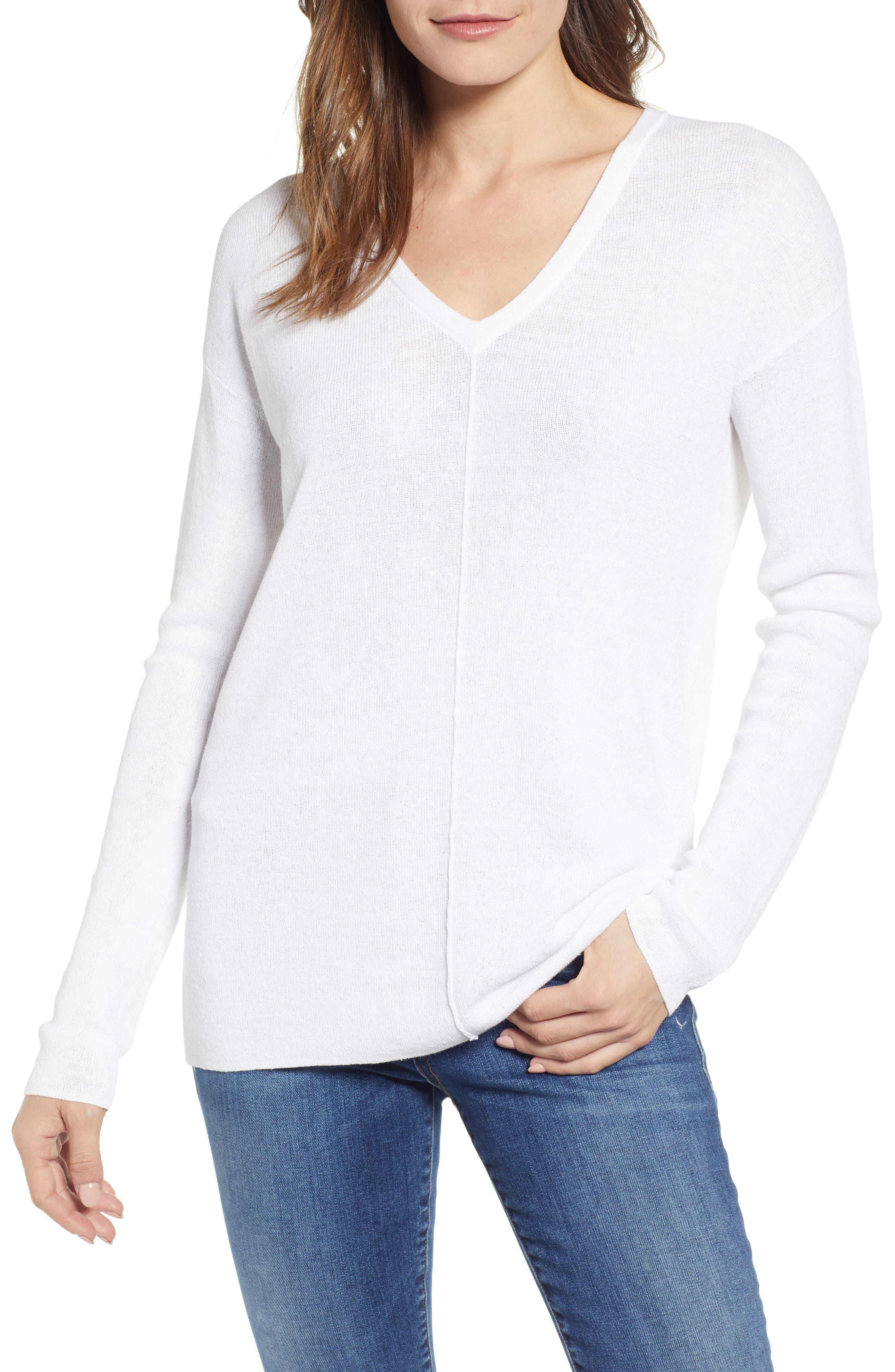 Caslon V-Neck Sweater, White