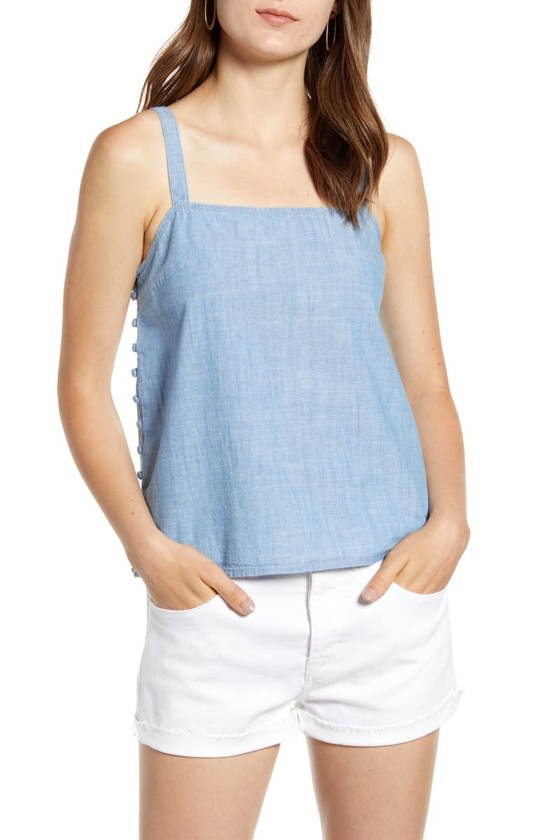 MADEWELL Side Button Chambray Camisole, Main, color, PALE INDIGO