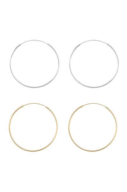 Image of Candela Sterling Silver & Gold Plated Sterling Silver Hoop Earrings Set