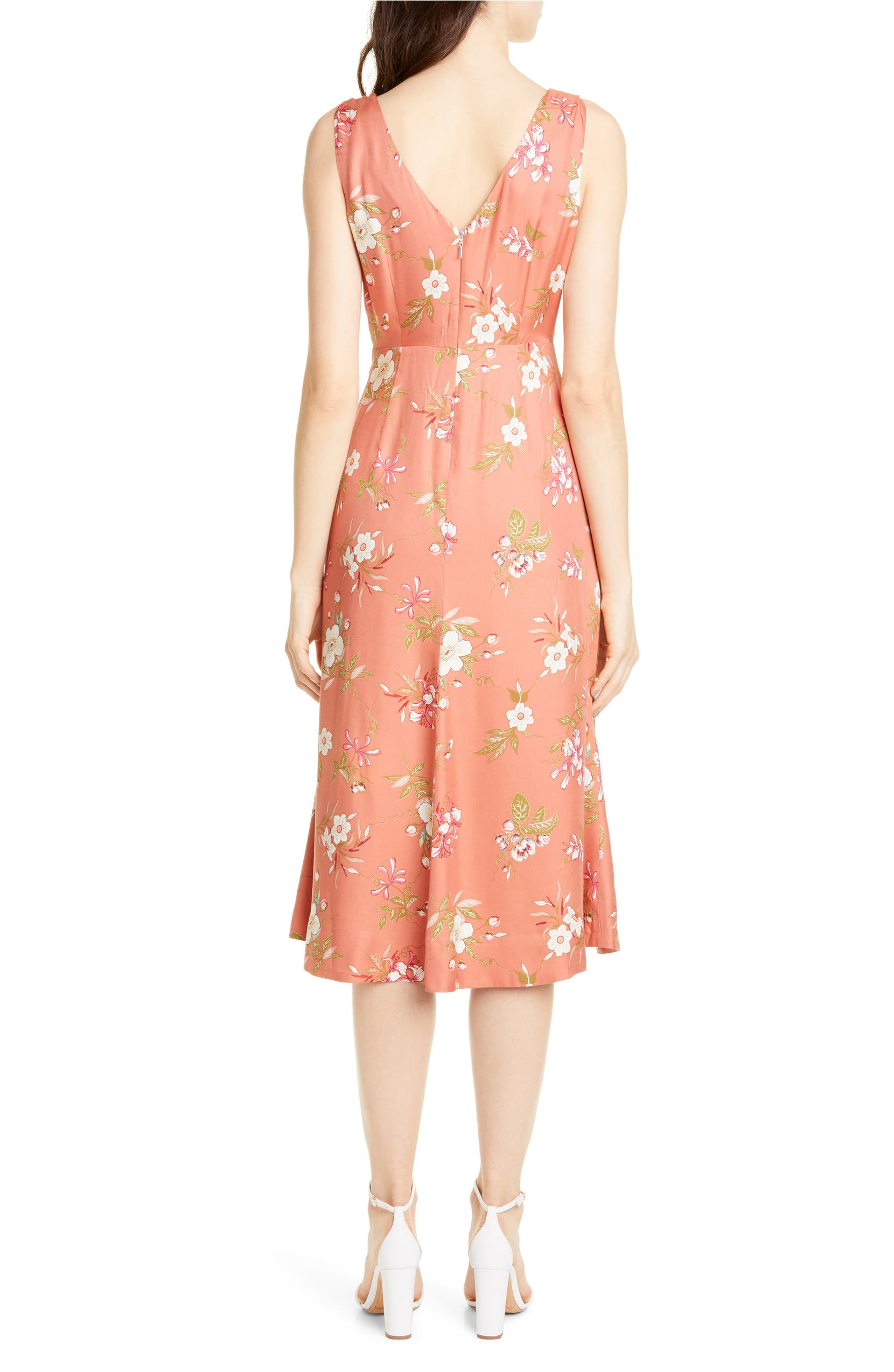 df4ccbfad Rebecca Taylor Floral Lita Tie Detail Silk Blend Midi Dress | Nordstrom