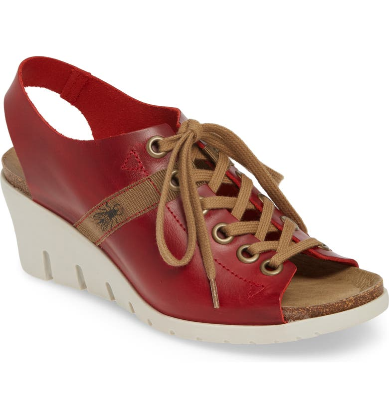 FLY LONDON Iant Wedge Sandal, Main, color, RED BRIDLE LEATHER