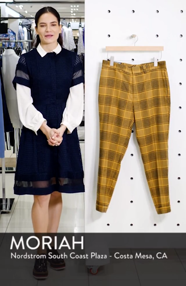 Plaid Slim Fit Crop Trousers, sales video thumbnail