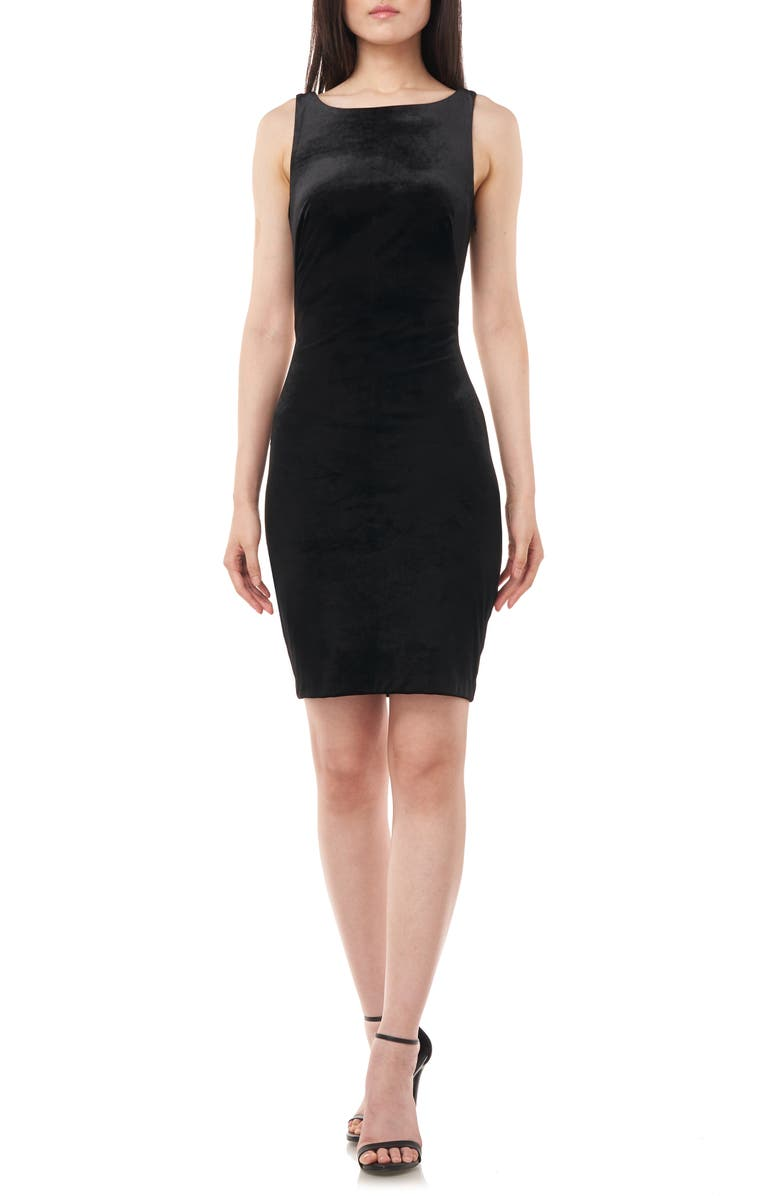 LOVE BY THEIA Twisted Open Back Velvet Cocktail Dress, Main, color, BLACK