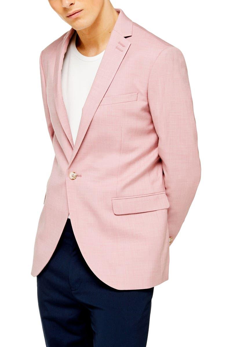 TOPMAN Dax Skinny Fit Blazer, Main, color, PINK