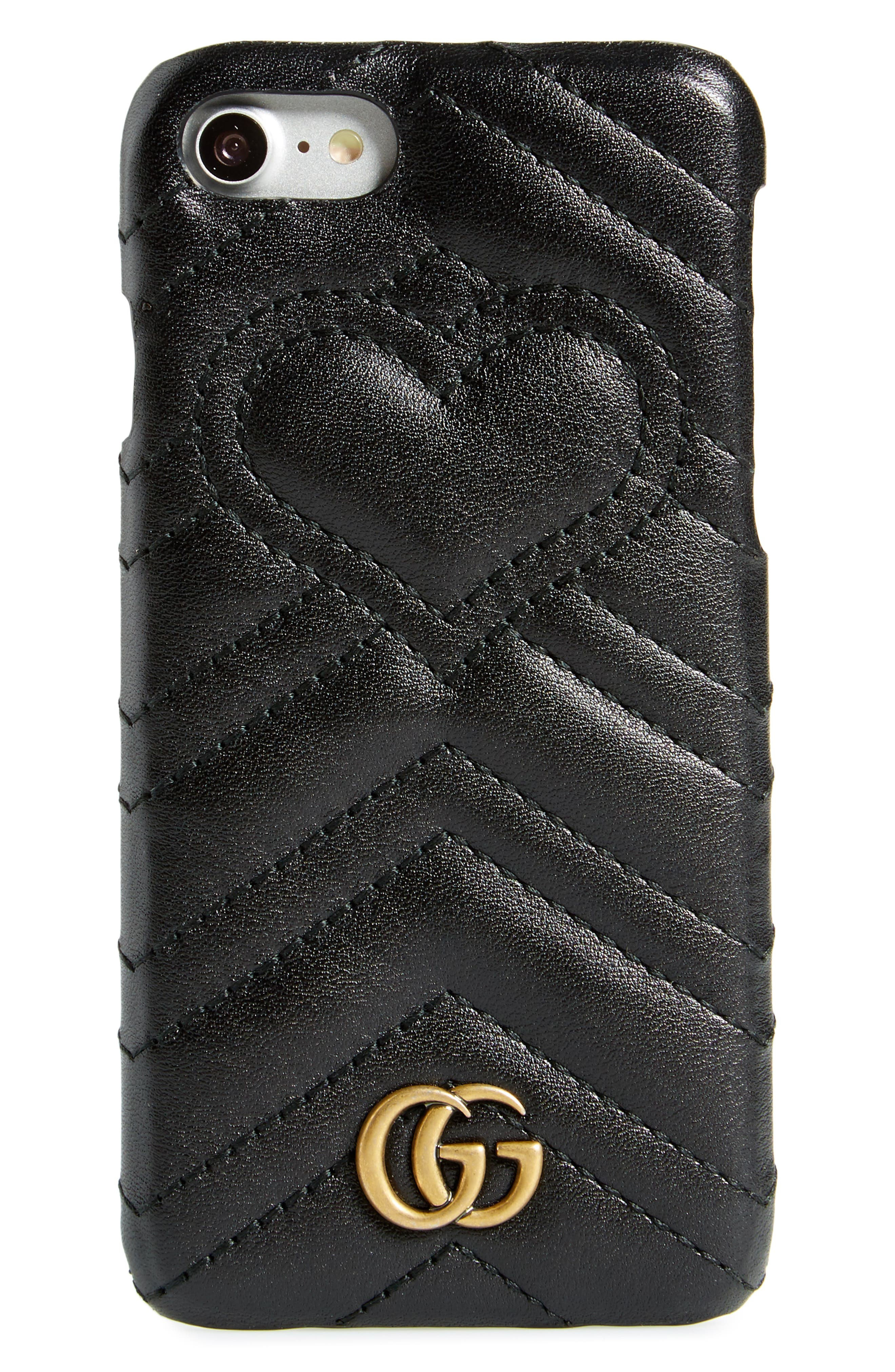 ,                             GG Marmont Leather iPhone 7 Case,                             Main thumbnail 3, color,                             001