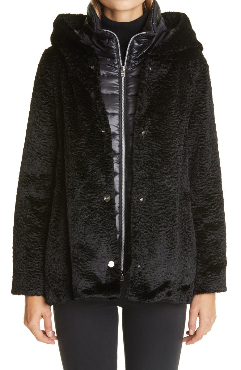 Herno Hannover Hooded Faux Persian Lamb Fur Coat with ...