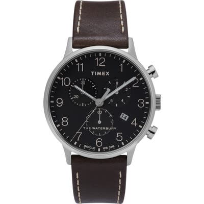 Timex Waterbury Chronograph Leather Strap Watch, 40Mm