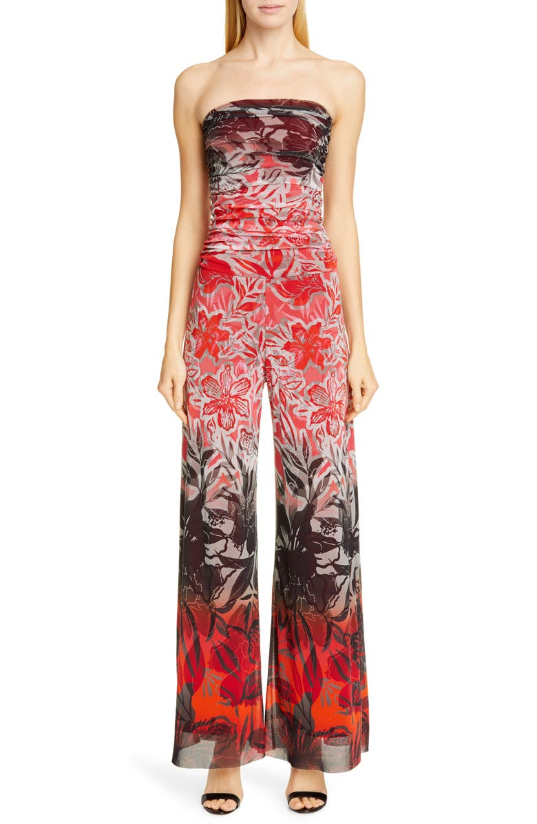 FUZZI Dégradé Floral Strapless Jumpsuit, Main, color, RUBINO