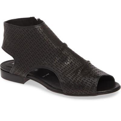 Ron White Aerika Laser Cut Shield Sandal - Black