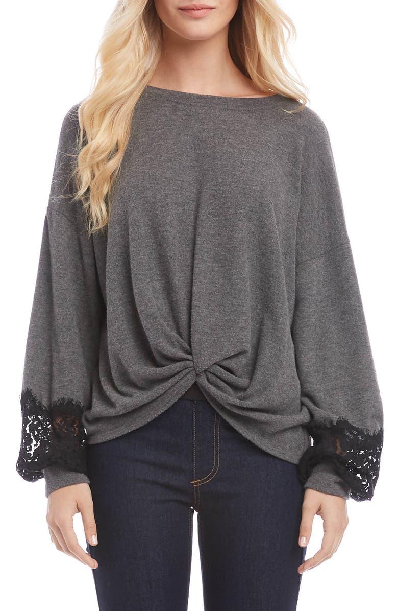 KAREN KANE Twist Front Lace Sleeve Sweater, Main, color, DARK HEATHER GRAY
