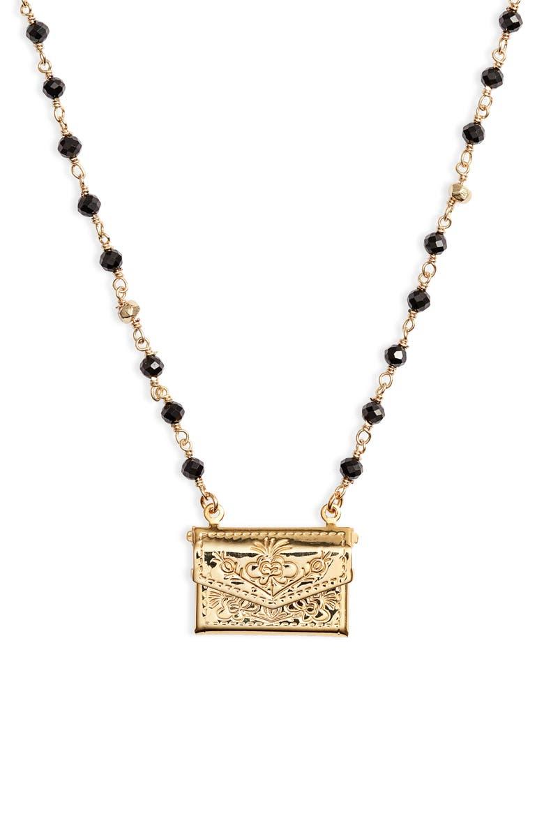 BRACHA Love Letter Locket Necklace, Main, color, GOLD