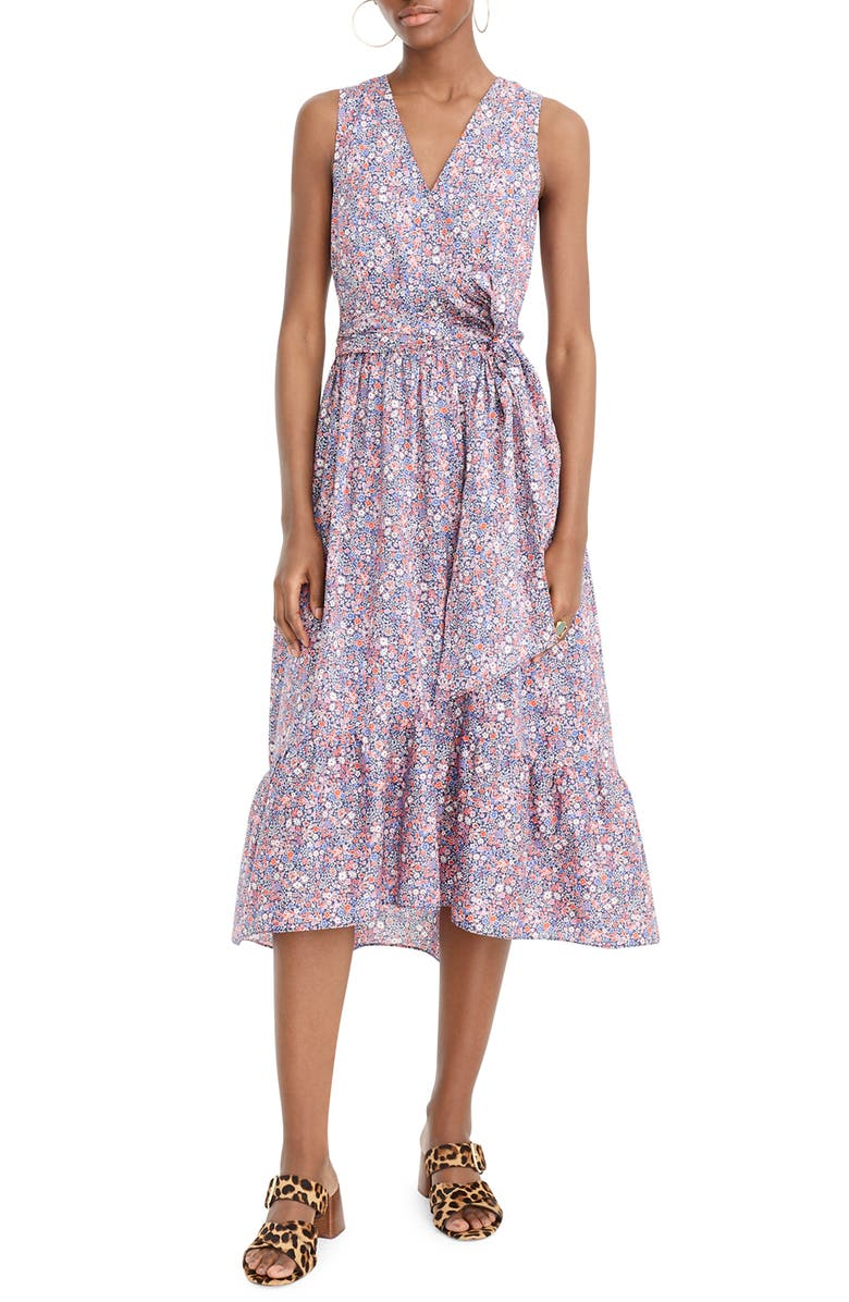 J.CREW Liberty<sup>®</sup> Kayoko Floral Sleeveless Faux Wrap Dress, Main, color, 400