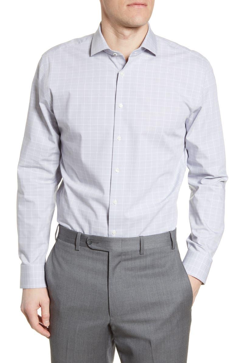 NORDSTROM MEN'S SHOP Tech-Smart Trim Fit Stretch Plaid Dress Shirt, Main, color, GREY MINI GLEN PLAID