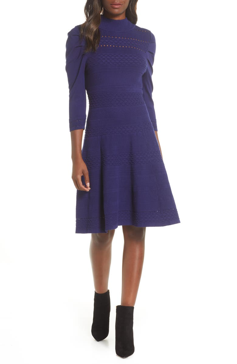 ELIZA J Mock Neck Fit & Flare Pointelle & Rib Sweater Dress, Main, color, NAVY