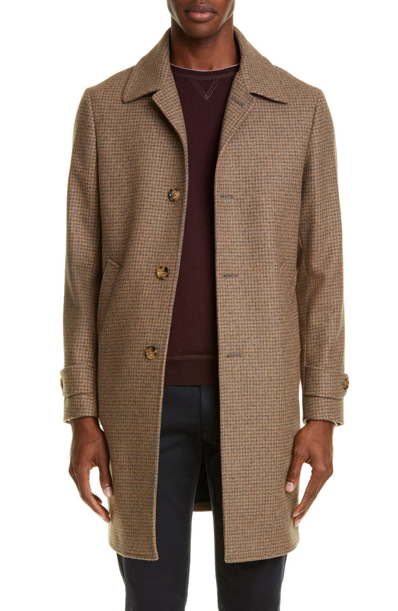 ELEVENTY Mini Houndstooth Coat, Main, color, CAMEL
