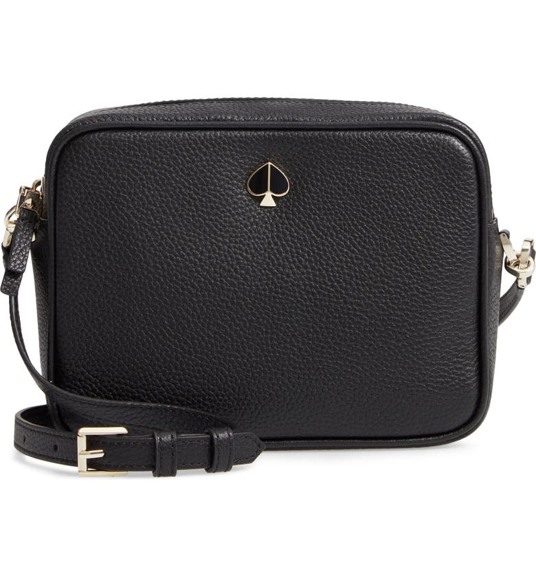 KATE SPADE NEW YORK medium polly leather camera bag, Main, color, 001