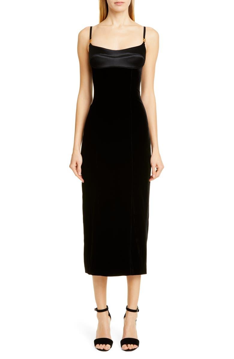 BRANDON MAXWELL Satin & Velvet Bustier Midi Dress, Main, color, BLACK