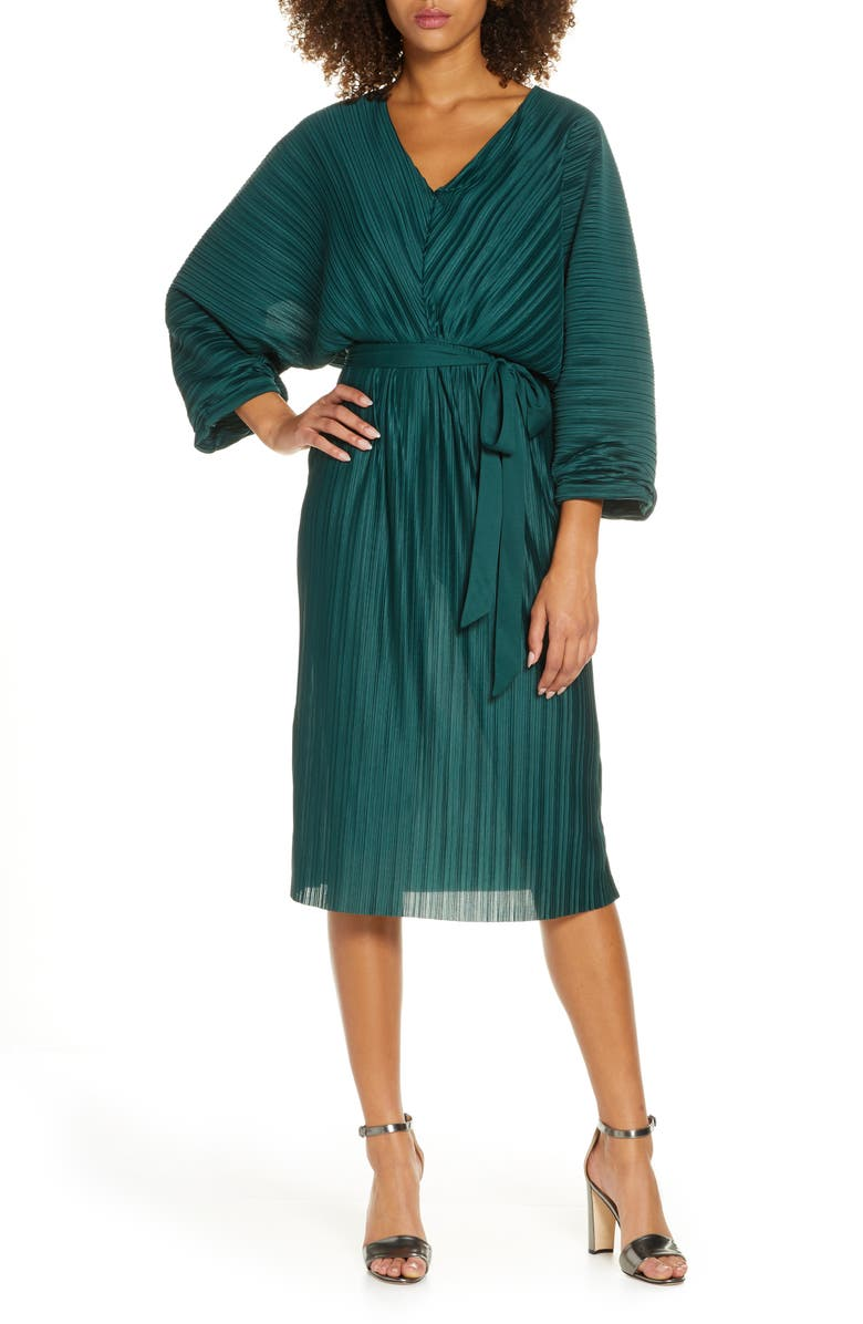 FRENCH CONNECTION Regi Dolman Sleeve Plissé Dress, Main, color, DARK BAYOU GREEN