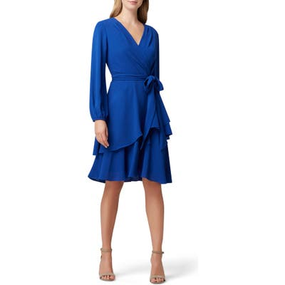 Tahari Long Sleeve Faux Wrap Dress, Blue