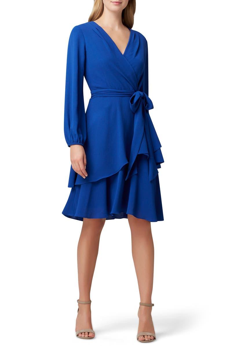 TAHARI Long Sleeve Faux Wrap Dress, Main, color, 428