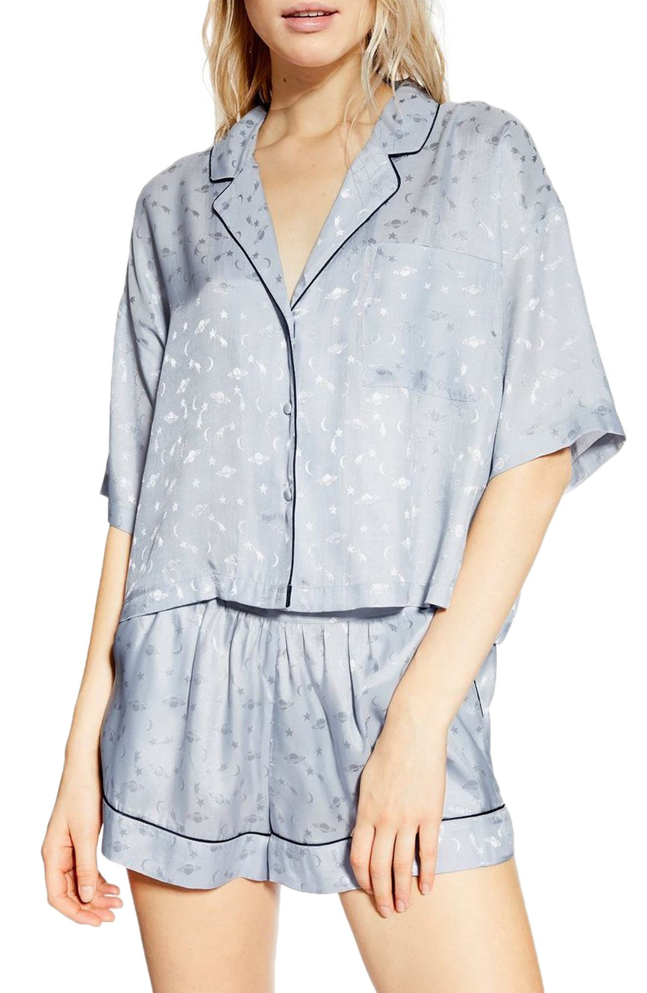 Topshop Space Jacquard Pajama Shirt, Blue