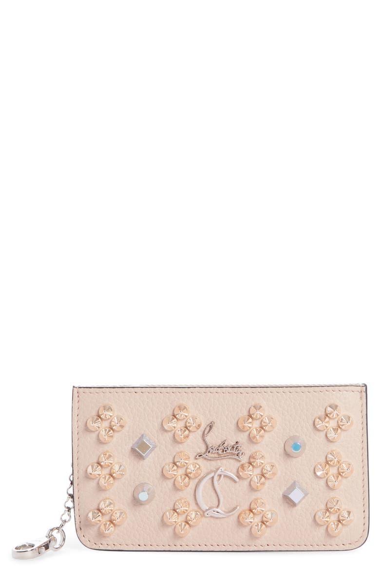 CHRISTIAN LOUBOUTIN Credilou Calfskin Leather Zip Card Case, Main, color, BALLERINA MULTI