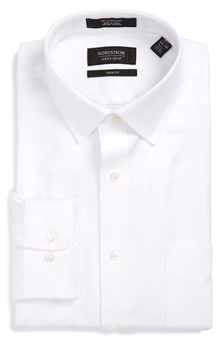 NORDSTROM MEN'S SHOP Trim Fit Microgrid Dress Shirt, Main, color, 100