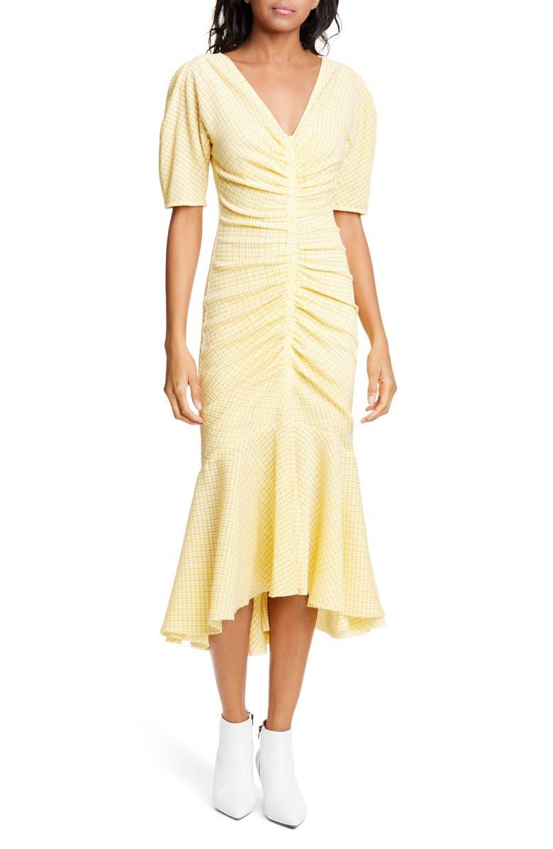 STAUD Panier Gingham Mermaid Midi Dress, Main, color, YELLOW GINGHAM