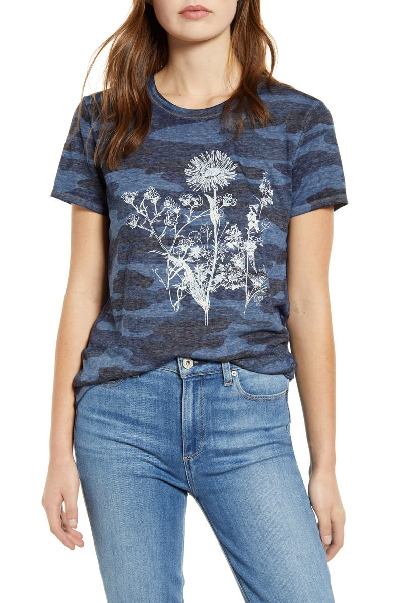 LUCKY BRAND Floral Camo Print Graphic Tee, Main, color, 460