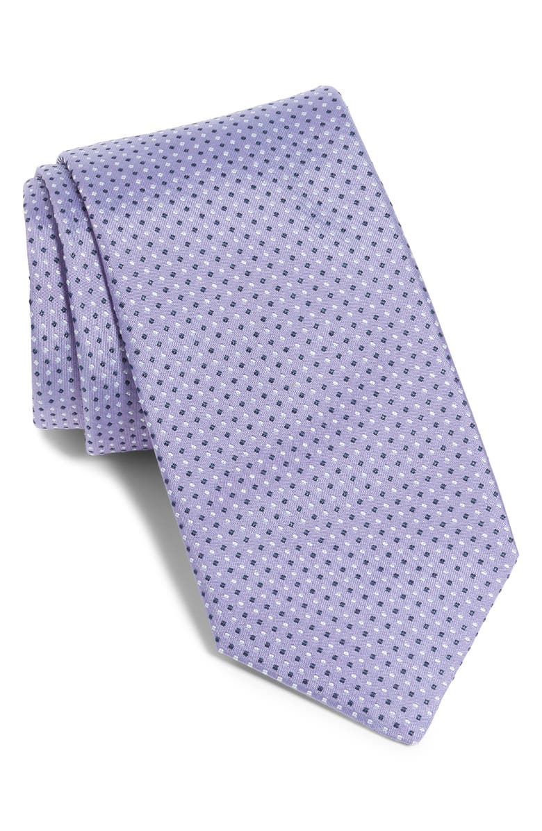 BOSS Geometric Silk Tie, Main, color, LAVENDER
