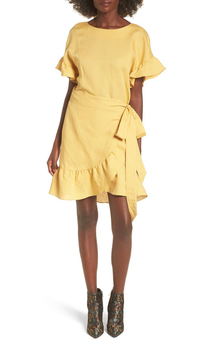 ASTR THE LABEL Ruffle Linen Blend Wrap Dress, Main, color, 700