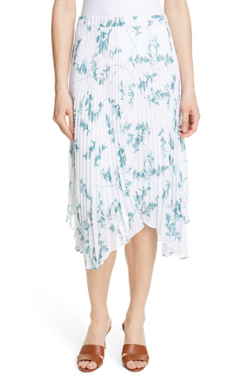 CLUB MONACO Asymmetrical Hem Pleated Midi Skirt, Main, color, WHITE MULTI FLORAL