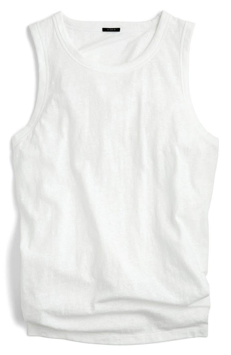 J.CREW Tie-Back Tank Top, Main, color, WHITE