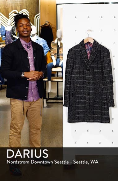 Ando Slim Fit Checked Overcoat, sales video thumbnail